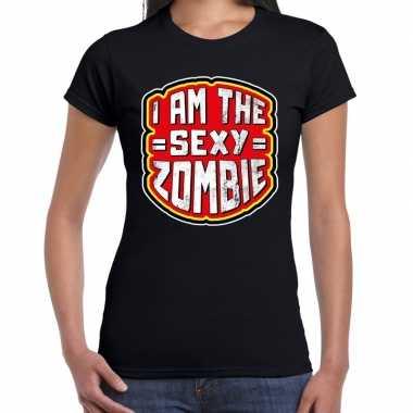 Halloween sexy zombie verkleed t shirt zwart dames outfit