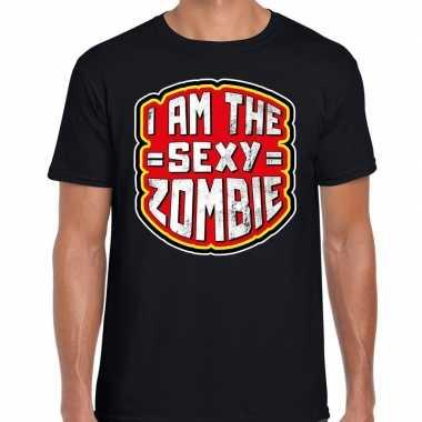 Halloween sexy zombie verkleed t shirt zwart heren outfit