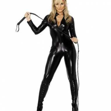 Sexy  Catsuit zwart lederlook outfit