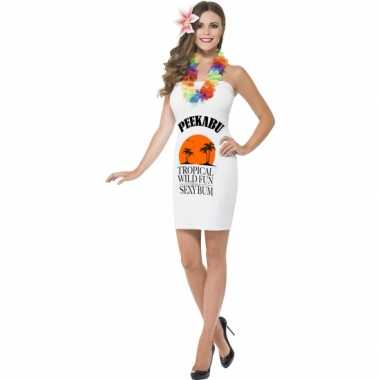 Sexy dames jurkjes wit drank label peekabu outfit