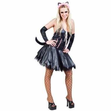 Sexy zwart roze verkleedset kat/poes dames outfit