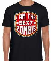 Halloween sexy zombie verkleed t-shirt zwart heren outfit